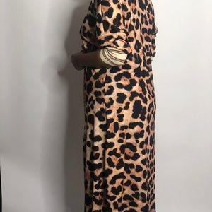 Maxi animal print and stripes jacket